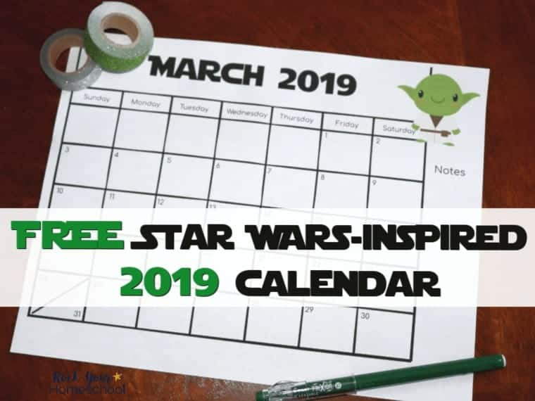 Free Star Wars-Inspired Calendar for 2019 Planning Fun