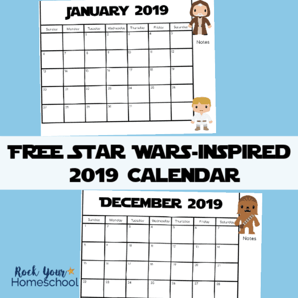 This free printable Star Wars-Inspired 2019 Calendar is awesome for planning your year.