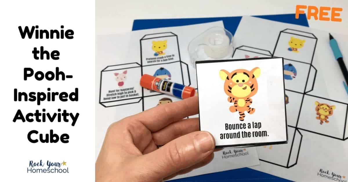 This free Winnie the Pooh-Inspired Activity Cube is an excellent printable that will help you extend the learning fun & get kids up & moving.