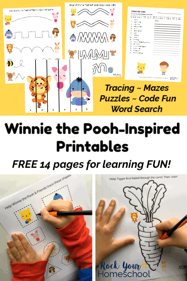 Winnie the Pooh-Inspired printable activities with tracing, puzzles, mazes, and code fun on yellow background and boy using mechanical pencil to trace Winnie the Pooh printable and boy using mechanical pencil to complete Winnie the Pooh printable maze