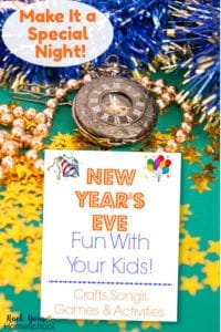 New Year's Eve display with pocket watch with Roman numerals, navy & gold tinsel, string of gold beads, & yellow stars on green background with cover of New Year's Eve Fun with Your Kids activity pack
