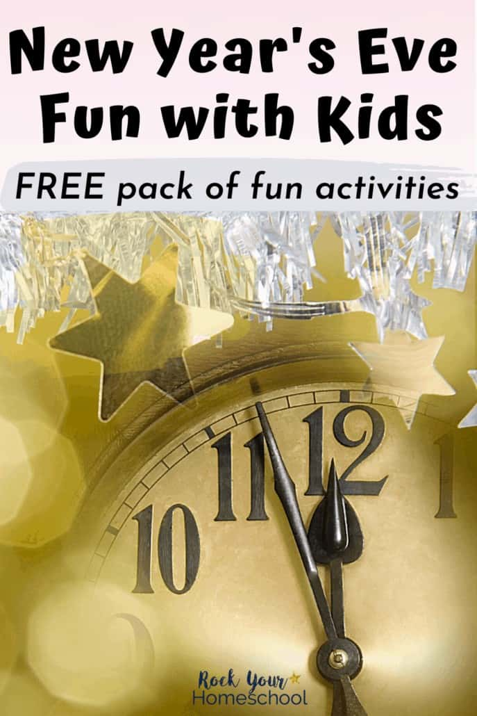 Gold clock getting near midnight with gold star & silver tinsel to feature this free New Year's Eve Fun Activity pack for an amazing celebration with kids