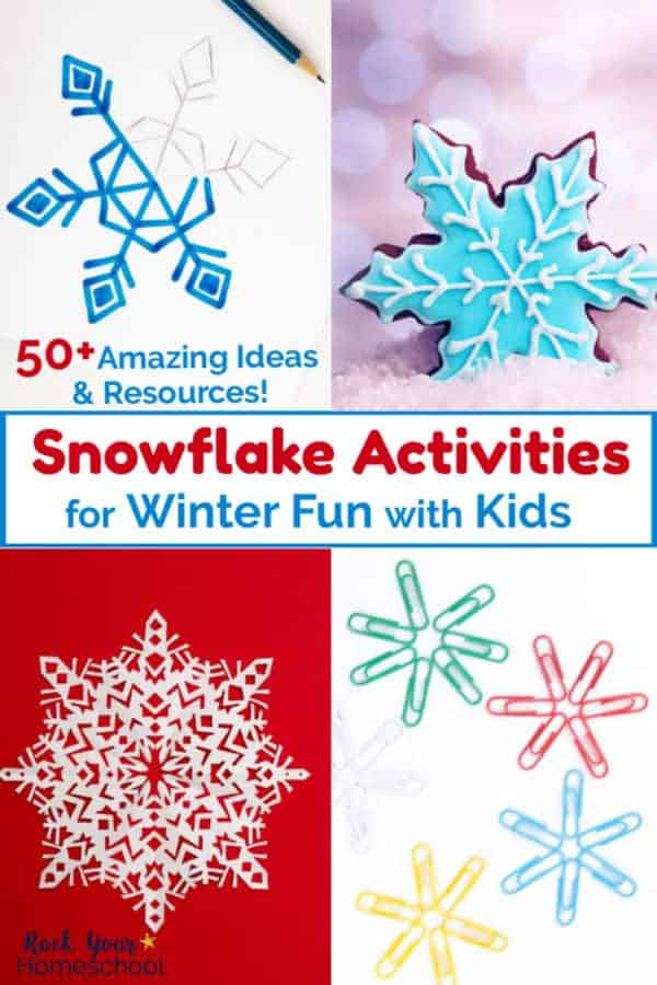 Sketch of snowflake with pencil & blue marker & gingerbread snowflake cookie decorated with blue & white frosting with bokah background & white paper snowflake on red background & green, red, blue, & yellow paperclips arranged as snowflakes for snowflake activities to enjoy with kids