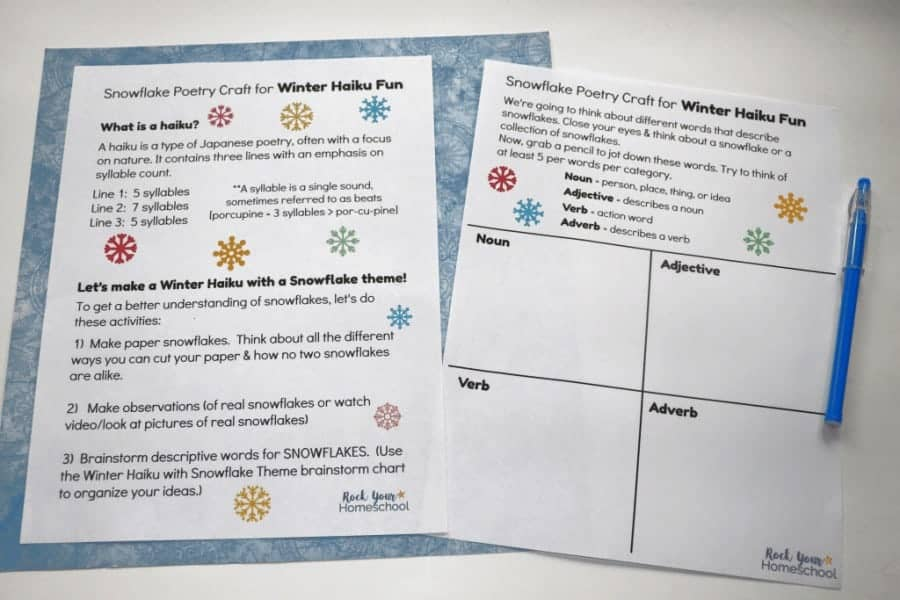This free printable pack will help you enjoy an easy snowflake poetry craft for winter haiku fun with kids.