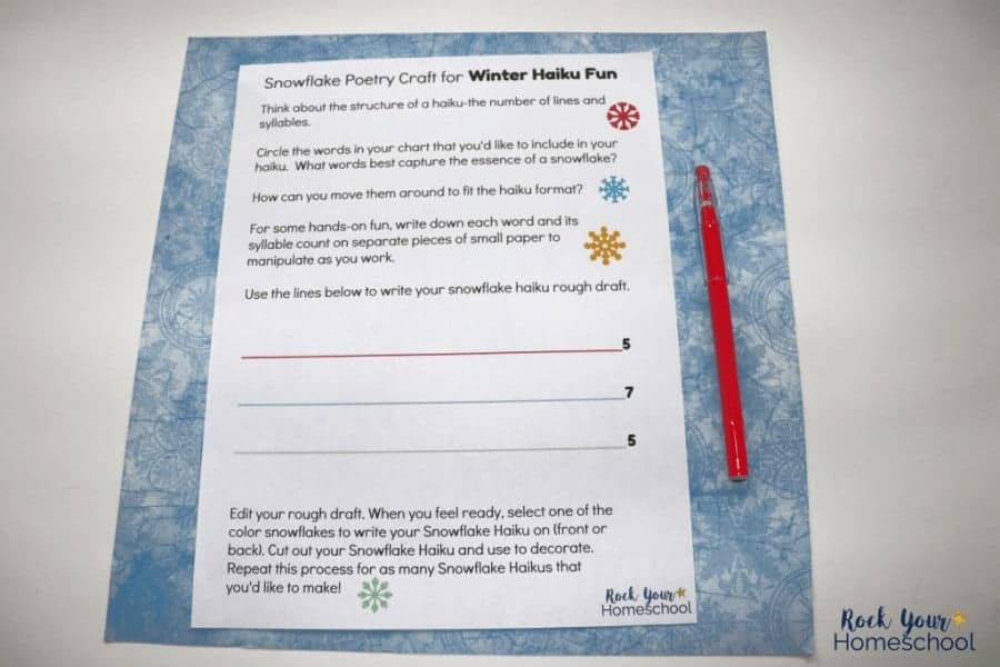 Enjoy this snowflake poetry craft with your kids! The free printable pack will guide you in creating a winter haiku fun based on snowflakes.