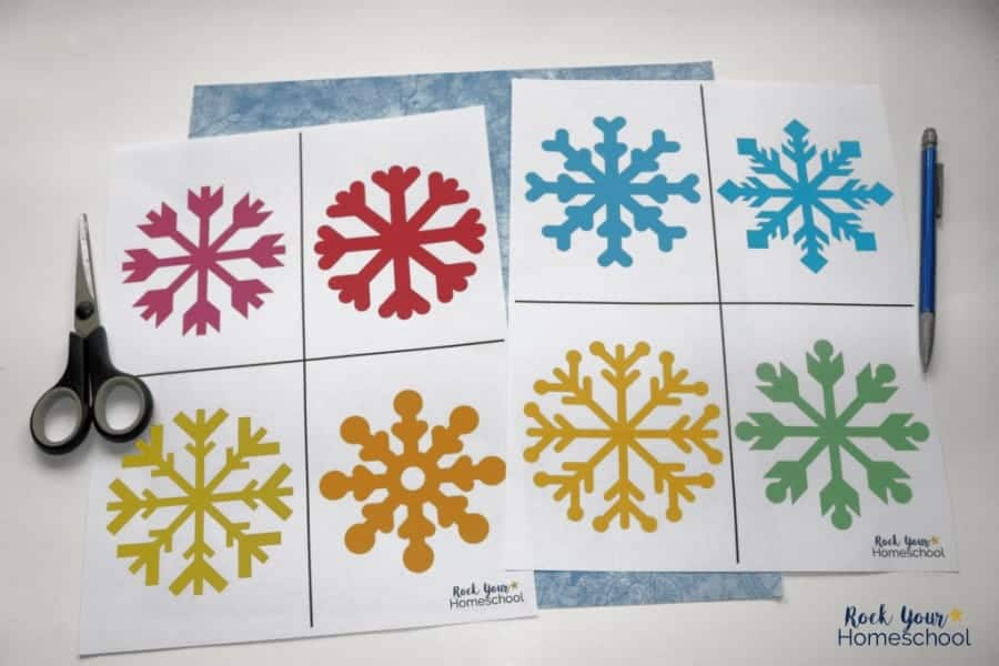 This free printable pack includes templates for an easy snowflake poetry craft for winter haiku fun with kids.