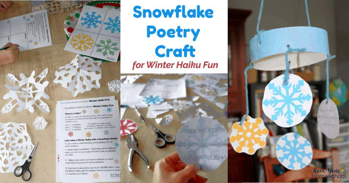 Enjoy this easy snowflake poetry craft for winter haiku fun with kids by using this free printable pack.