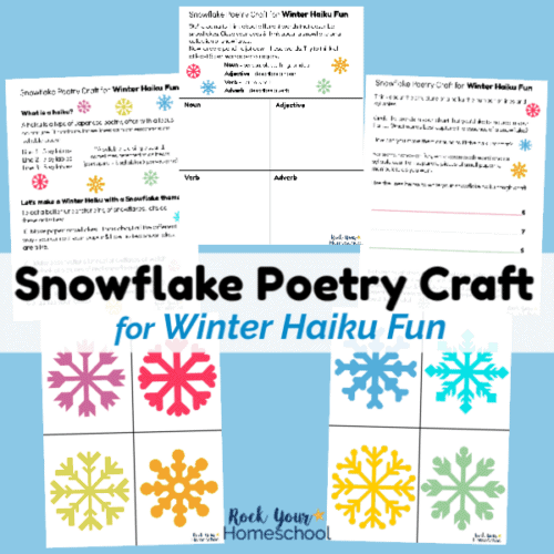 This free printable pack includes activities & guide to help you enjoy an easy snowflake poetry craft for winter haiku fun.