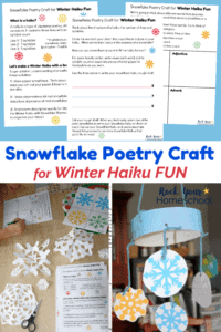 Free printable Snowflake Poetry Craft for Winter Haiku Fun worksheets on blue background and boy writing & planning a snowflake haiku with white paper snowflakes, scissors, & colorful snowflakes and snowflake poetry craft mobile