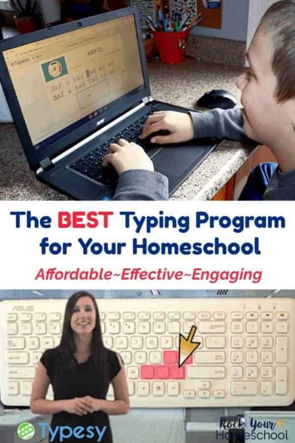 Boy smiling as he uses Typesy, a homeschool typing program for kids and woman teacher demonstrating correct typing method with keyboard in background