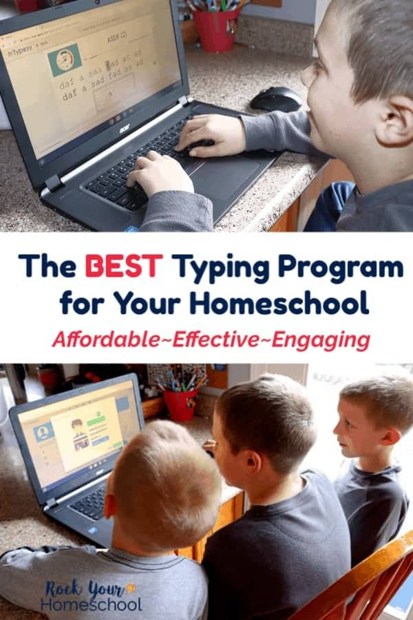Boy smiling as he works on his Typesy lesson and three boys smiling as they use Typesy, an online homeschool typing program