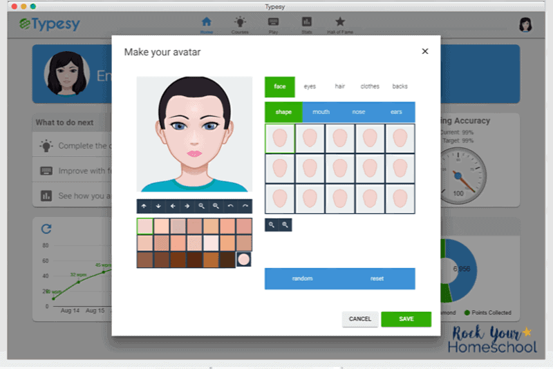 Your kids get to make their own avatar when using Typesy, the best typing program for your homeschool.