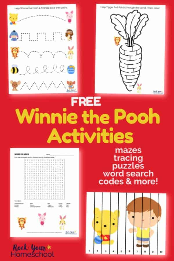 Winnie the Pooh printable activities of tracing, mazes, word search, puzzles, & more for Winnie the Pooh-Inspired learning fun