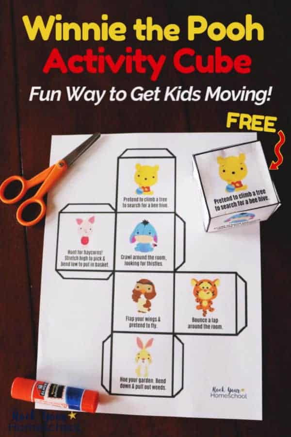 Winnie the Pooh Activity Cube printable page & cube with orange scissors & glue stick on dark wood for an easy way to get kids moving & have fun