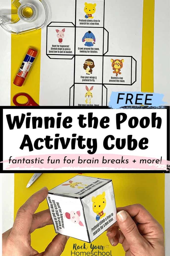 Woman holding Winnie the Pooh Activity cube to feature the amazing fun you'll have with your kids using this free printable for brain breaks and more