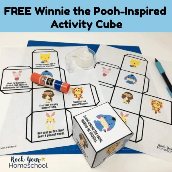 This free printable Winnie the Pooh-Inspired Activity Cube is an awesome way to extend the learning fun with these classic stories & characters.