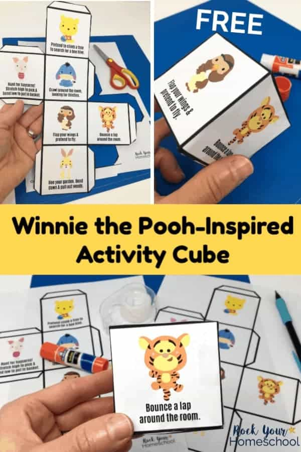 Woman holding cut-out of free Winnie the Pooh-Inspired Activity cube with blue background and woman holding Winnie the Pooh-Inspired activity cube with blue background and Winnie the Pooh-Inspired Activity Cube with printables, tape, scissors, glue, & mechanical pencil on blue & white background