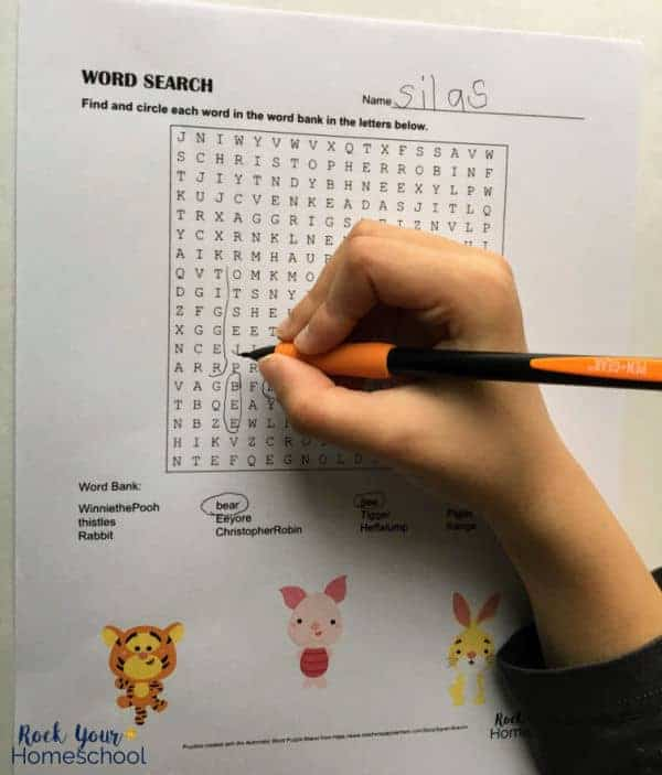 A word search is included in this free Winnie the Pooh-Inspired printables pack.
