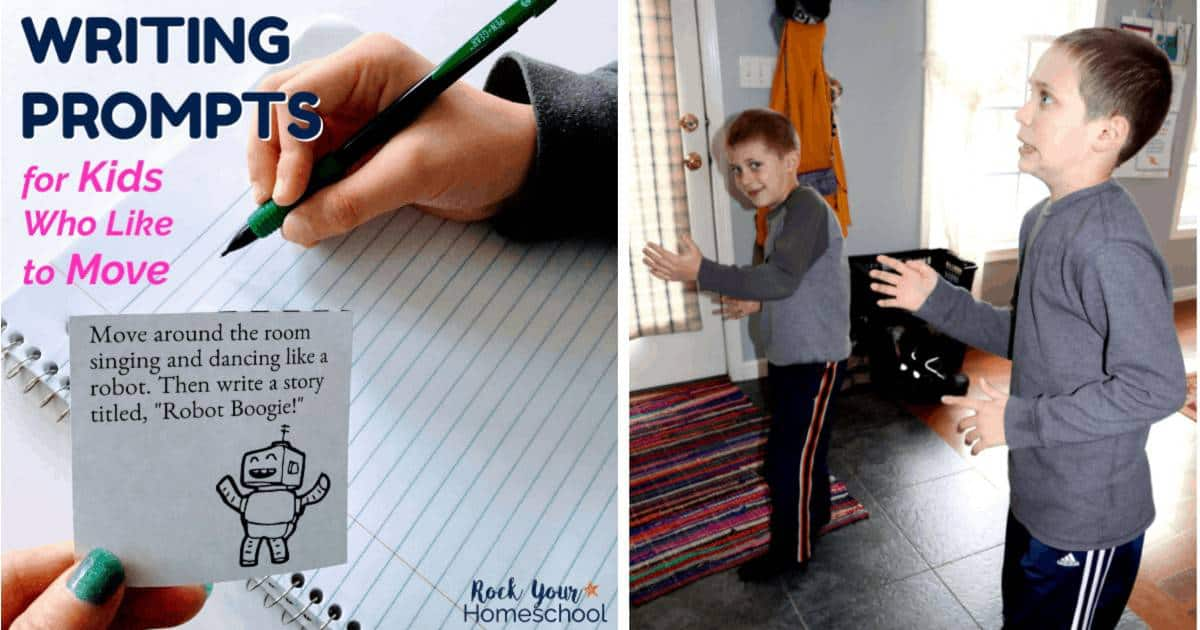 Instead of fighting your kids when it comes to writing, help them channel their energy! These free writing prompts are perfect for kids who like to move. Make creative writing fun!