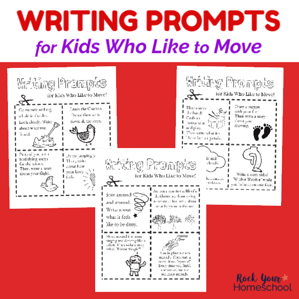 Help your kids channel their energy with these free writing prompts for kids who like to move.