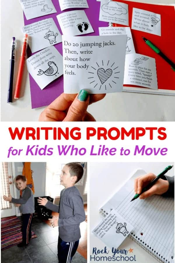 Woman holding writing prompt card with other cards & purple cardstock, red spiral notebook, mechanical pencil & pens and two boys acting like robots and boys holding mechanical pencil over spiral notebook page with free writing prompt