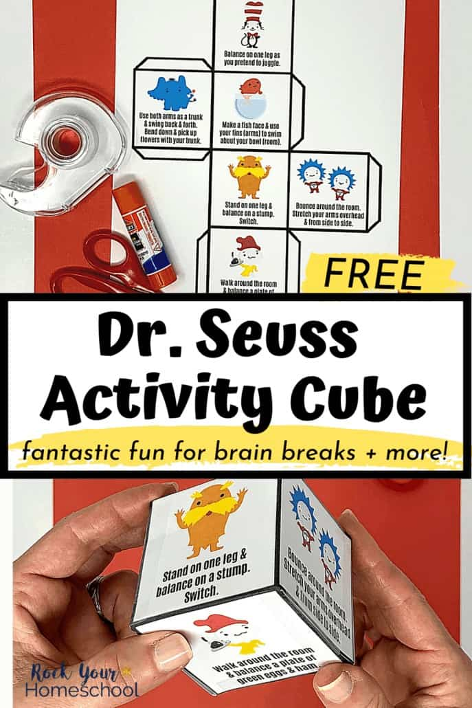Woman holding free Dr. Seuss activity cube with scissors & tape to feature the amazing fun you'll have with your kids using this free Dr. Seuss printable