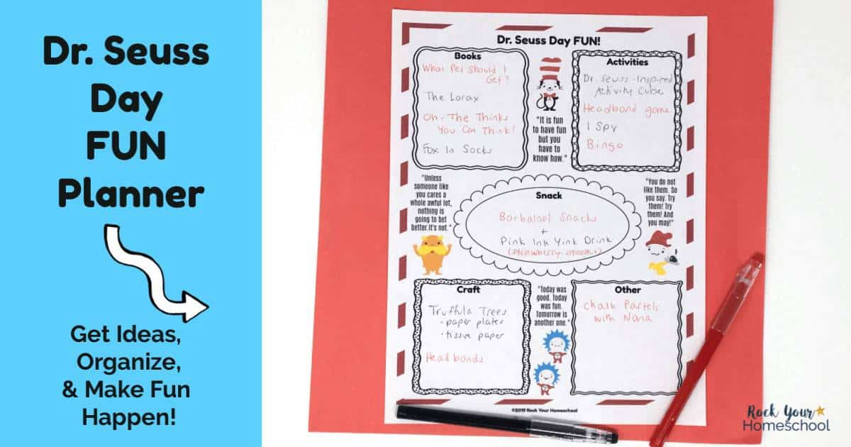 Get ready for an awesome celebration with this free Dr. Seuss Day Fun Planner.