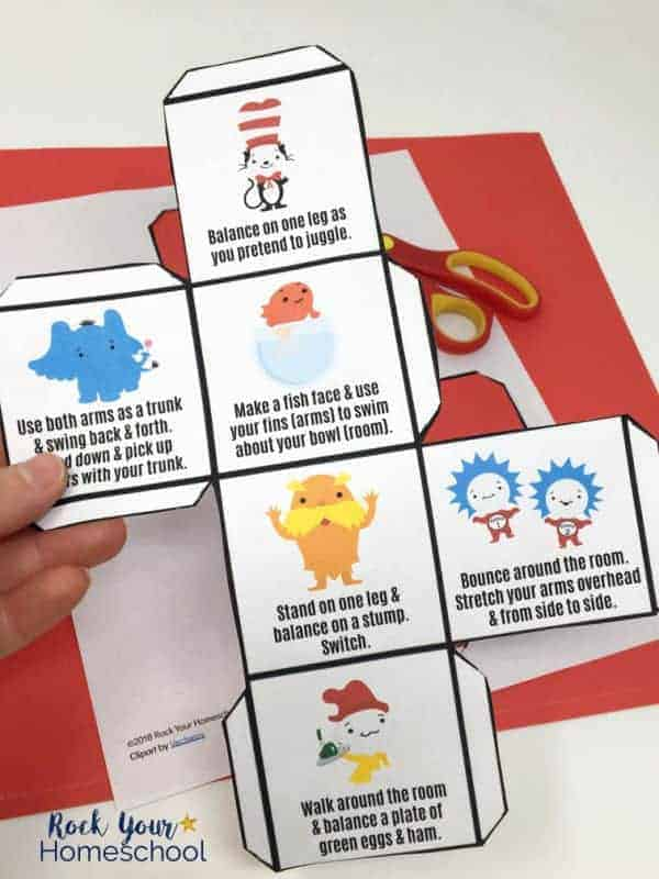 This free printable Dr. Seuss-Inspired Activity Cube is easy to assemble for awesome fun with kids.
