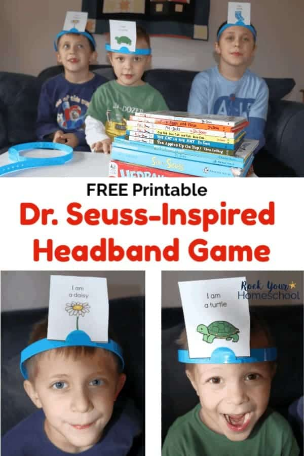 Boys playing free printable Dr. Seuss-Inspired Headband Game & books and boys wearing headband with Dr. Seuss characters for fun game