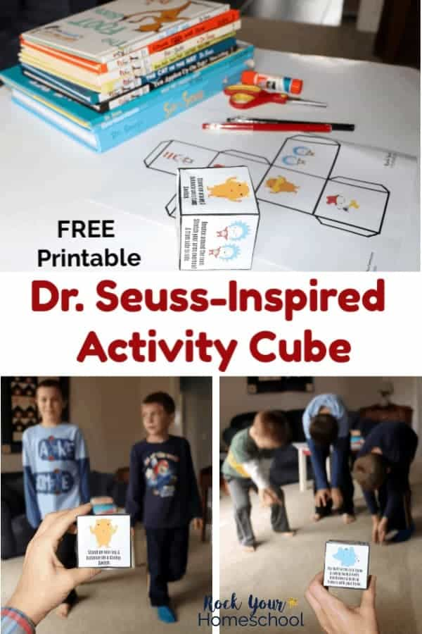 Free printable Dr. Seuss-Inspired Activity Cube with pens & scissors & glue & Dr. Seuss books on white surface and boys acting out Dr. Seuss characters using printable paper activity cube