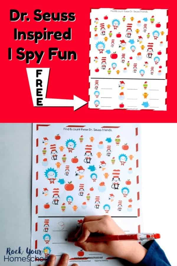 Free printable Dr. Seuss-Inspired I Spy Activity on red background with white arrow pointing to it and boy completing Dr. Seuss-Inspired I Spy Activity