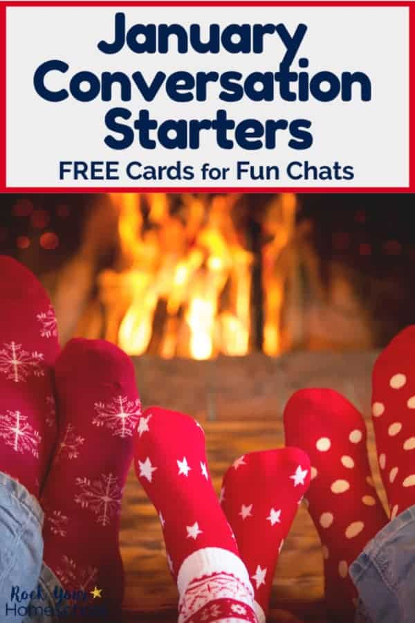 Dad, child, and mom wearing red winter socks in front of fire to feature how free January Conversation Starters can help you enjoy fun chats with kids