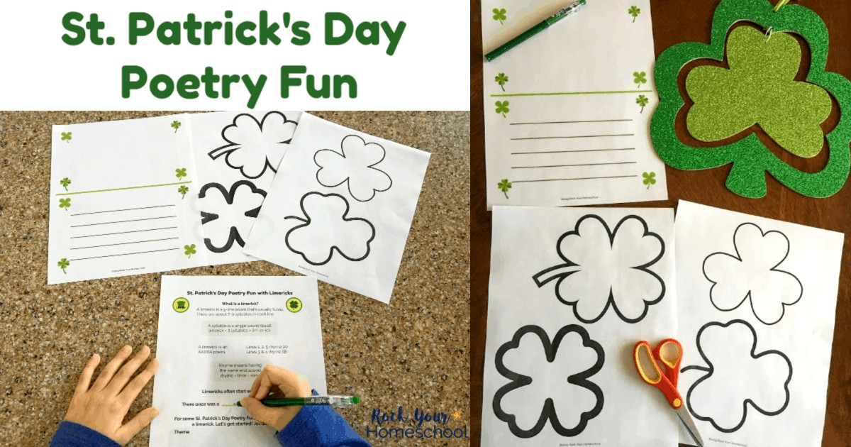 This free printable St. Patrick's Day Poetry Fun pack will help you make your celebration extra special. Includes a lesson & templates for making limericks.
