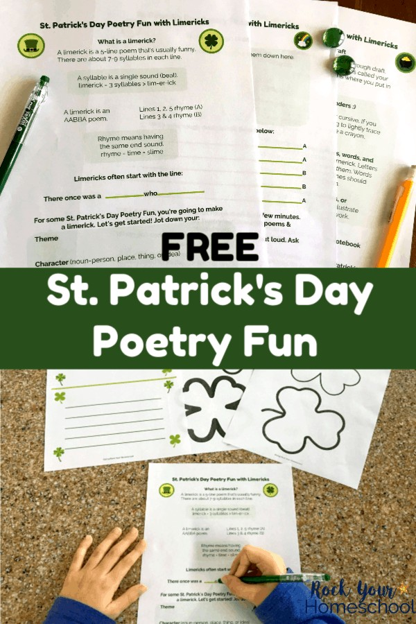 St. Patrick's Day Poetry Fun printable pack with green pen & yellow mechanical pencil on dark wood desk and boy working on limerick poem with St. Patrick's Day Poetry Fun printables on granite background
