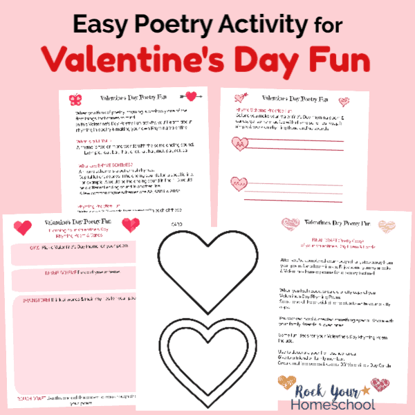 This free printable pack will help you enjoy an easy poetry activity for Valentine's Day Fun with kids.