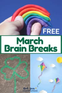 Boy holding clay rainbow with blue background & green chalk shamrock on concrete & paper kites, clouds, & sun on light blue background to feature different ways to use these March Brain Breaks for learning fun