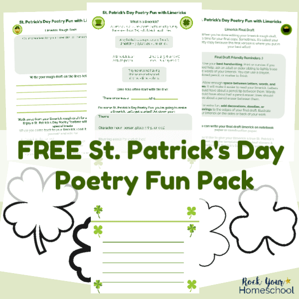 This free printable pack for St. Patrick's Day Poetry Fun is awesome for learning about & creating limerick poems.