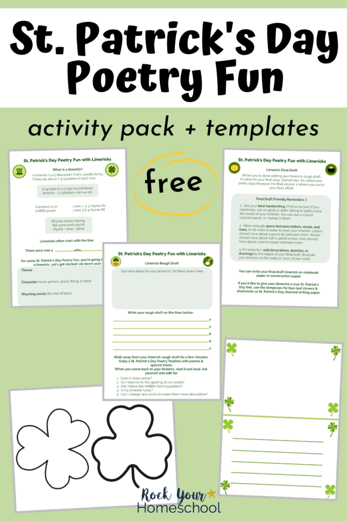 St. Patrick's Day poetry activity printables & clover templates to feature how you can enjoy special St. Patrick's Day poetry fun with your kids using this free pack