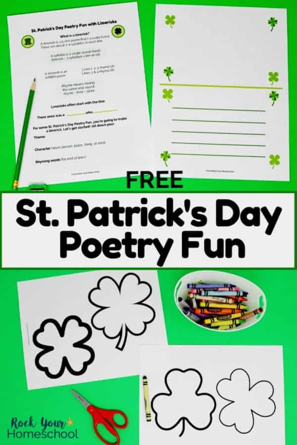Free St. Patrick's Day Poetry Fun worksheets with lesson on limericks with green pencil on green background and clover & shamrock templates with rainbow of colors & red scissors to feature the poetry fun for kids