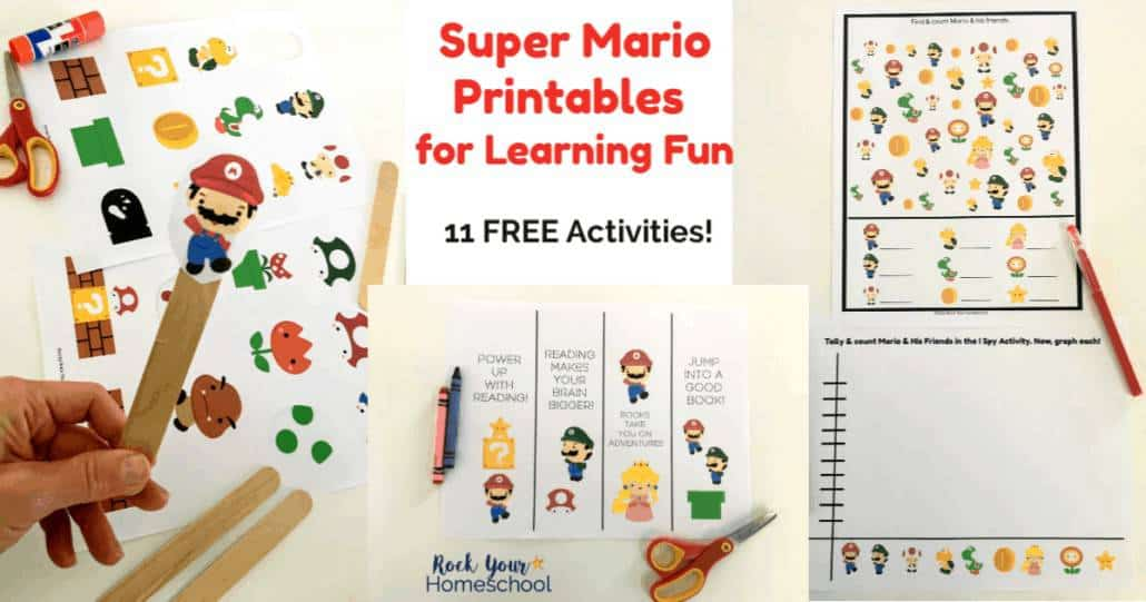 Enjoy these Super Mario Printables for Learning Fun with your kids. Great for interest-led learning at parties and in classrooms, homeschools, & families.