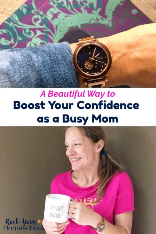 Woman wearing Jord watch & tie-dye blue shirt with yoga mat in background and busy mom with bright pink shirt & side ponytail holding coffee mug & wearing wristwatch with beige background