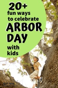 Boy sitting in tree & smiling as he looks up to feature one of the fun ways to celebrate Arbor Day with kids