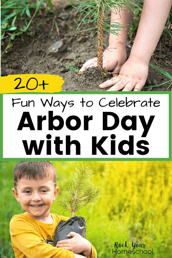 Child planting pine tree & boy hugging pine tree seedling to feature the fun ways you can celebrate Arbor Day with kids