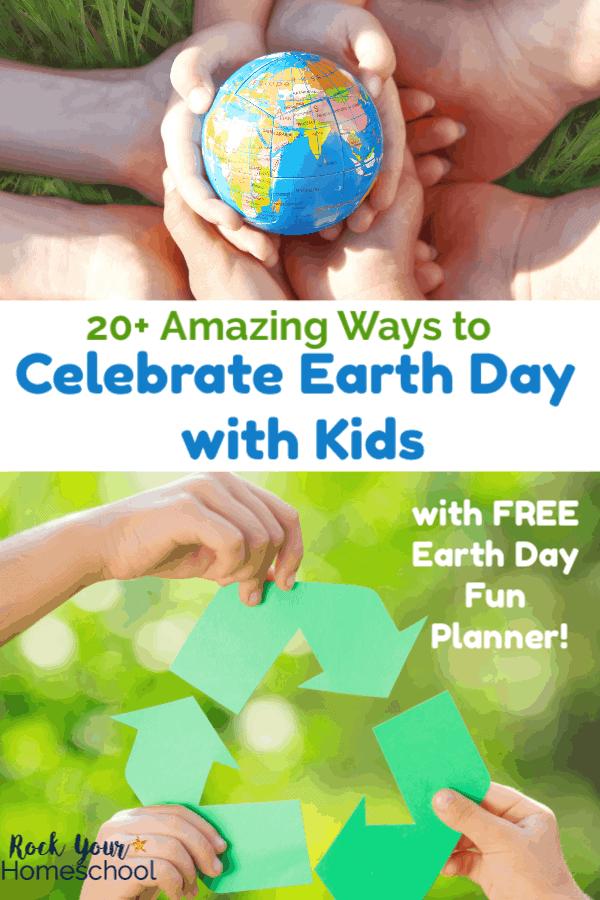 Kids' hands holding Earth ball with grass background and kids holding green recycle arrows with green leaves in background