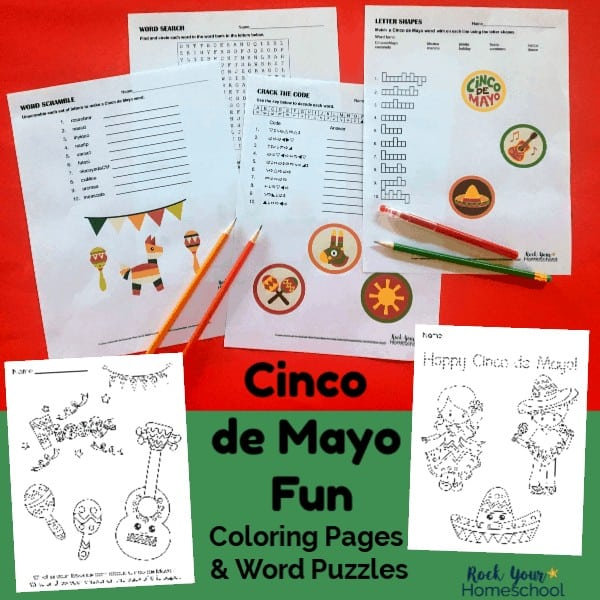 These free printable coloring pages & word puzzles will help you add fun to your celebration for Cinco de Mayo for kids.