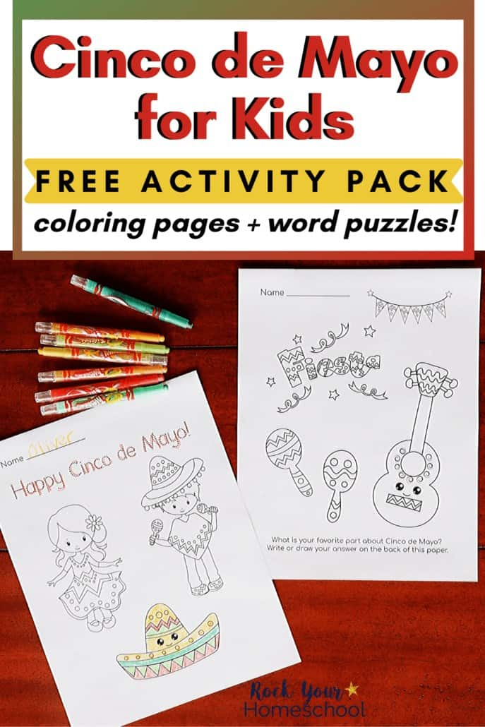 Cinco de Mayo coloring pages with twistable crayons to feature this free activity pack of word puzzles & coloring pages for Cinco de Mayo fun for kids
