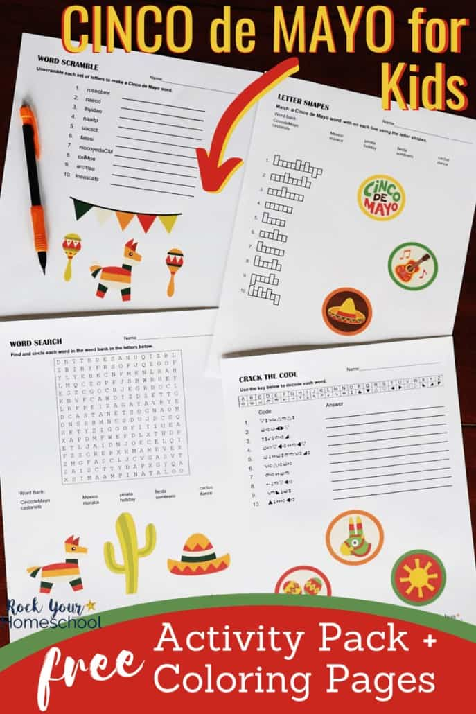 Cinco de Mayo word puzzles & pencil to feature the Cinco de Mayo fun for kids you can have with this free activity pack & coloring pages