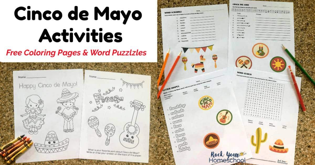 Add these free printable activities to your celebration for a fun Cinco de Mayo for kids.
