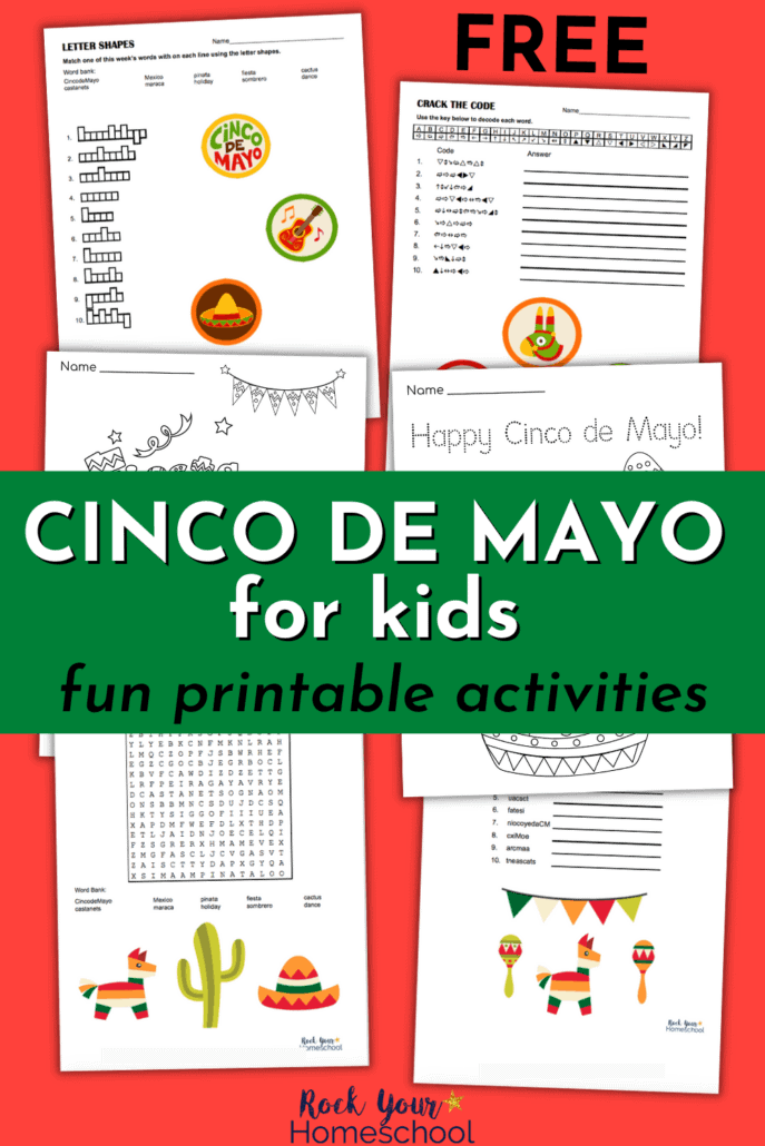 6 Cinco de Mayo free printable activities with word puzzles and coloring pages to feature the fantastic learning fun you'll have with these activities for Cinco de Mayo for Kids fun