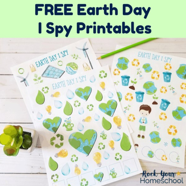 Enjoy easy Earth Day Activities with Kids using these 3 free I Spy Printables.